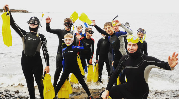 Kids snorkelling in Northumberland