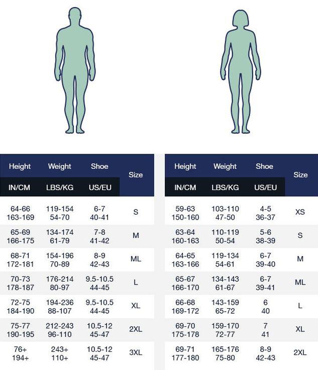 Aqua Lung Fusion Sport drysuit size guide