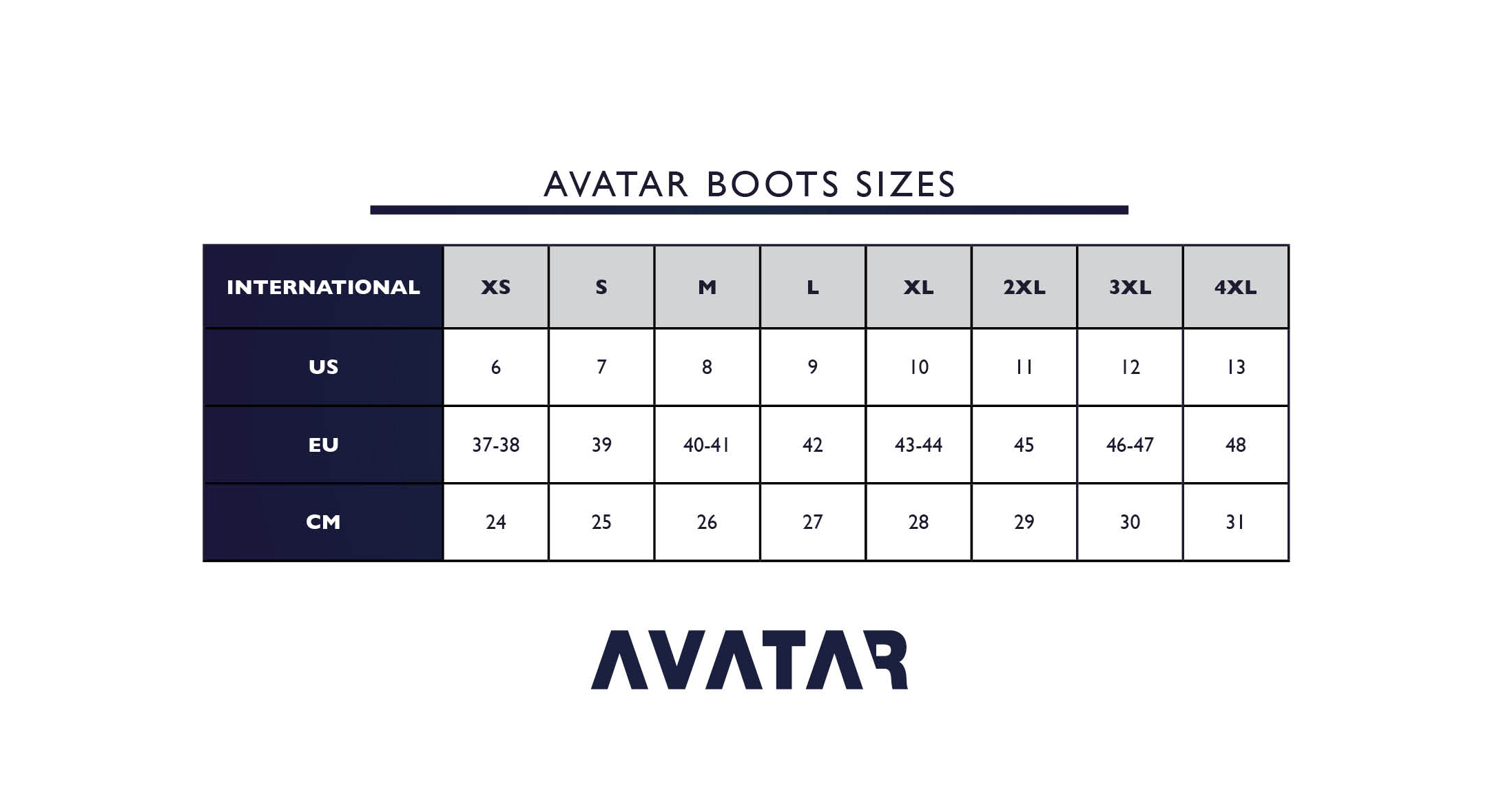 Avatar drysuit boot size guide