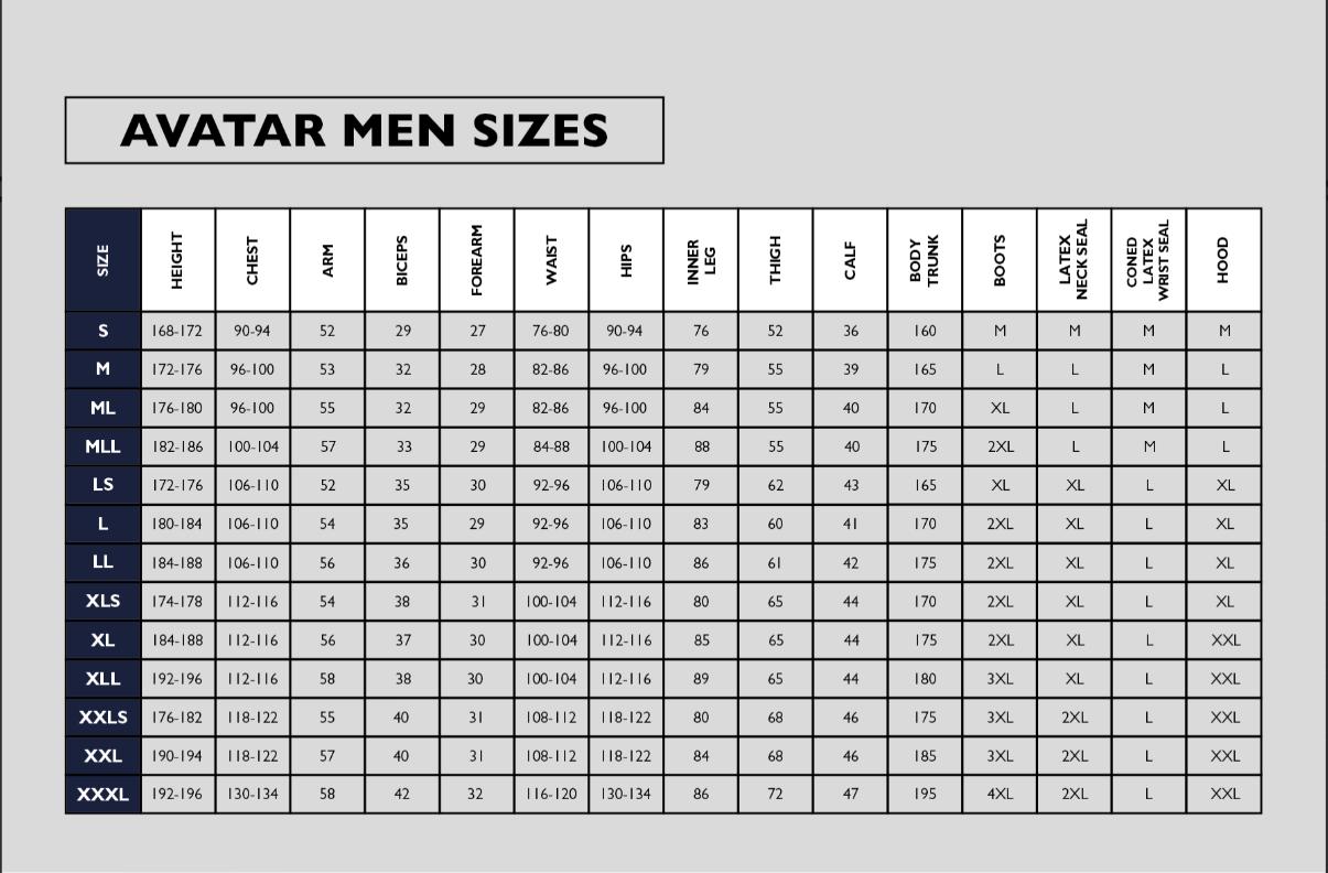 Avatar mens drysuit size guide