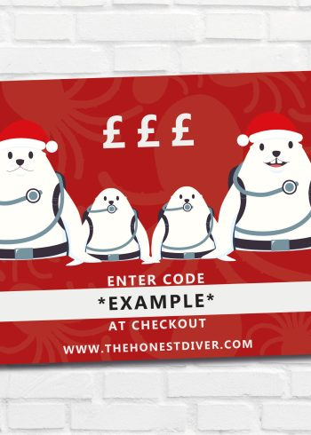 Christmas Gift Vouchers for scuba divers with seal design