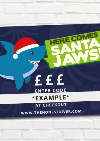 Christmas Gift Vouchers for scuba divers with shark design